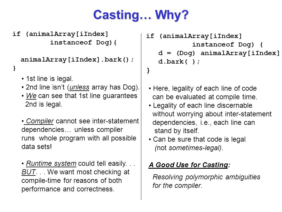 Casting… Why } if (animalArray[iIndex] if (animalArray[iIndex]
